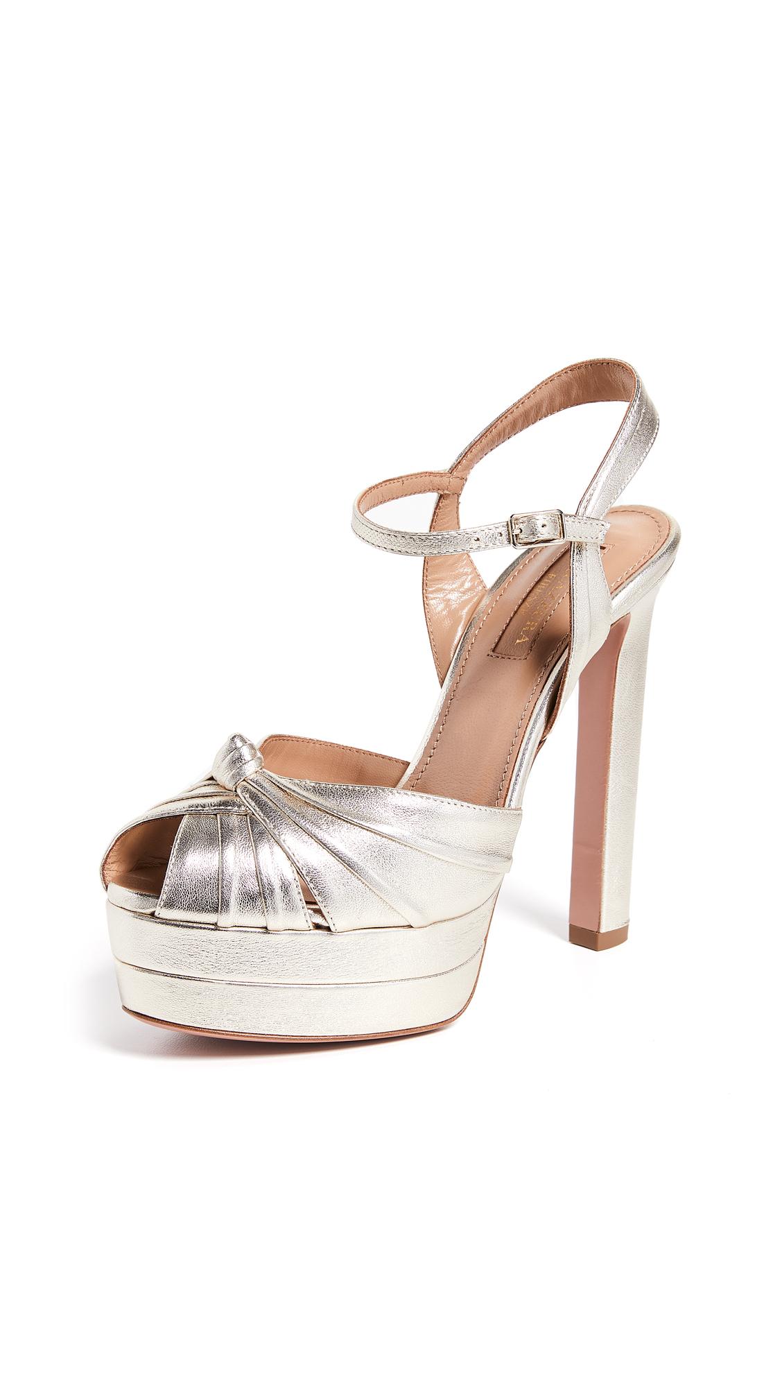 Aquazzura Evita 130 Plateau Sandals - Light Gold