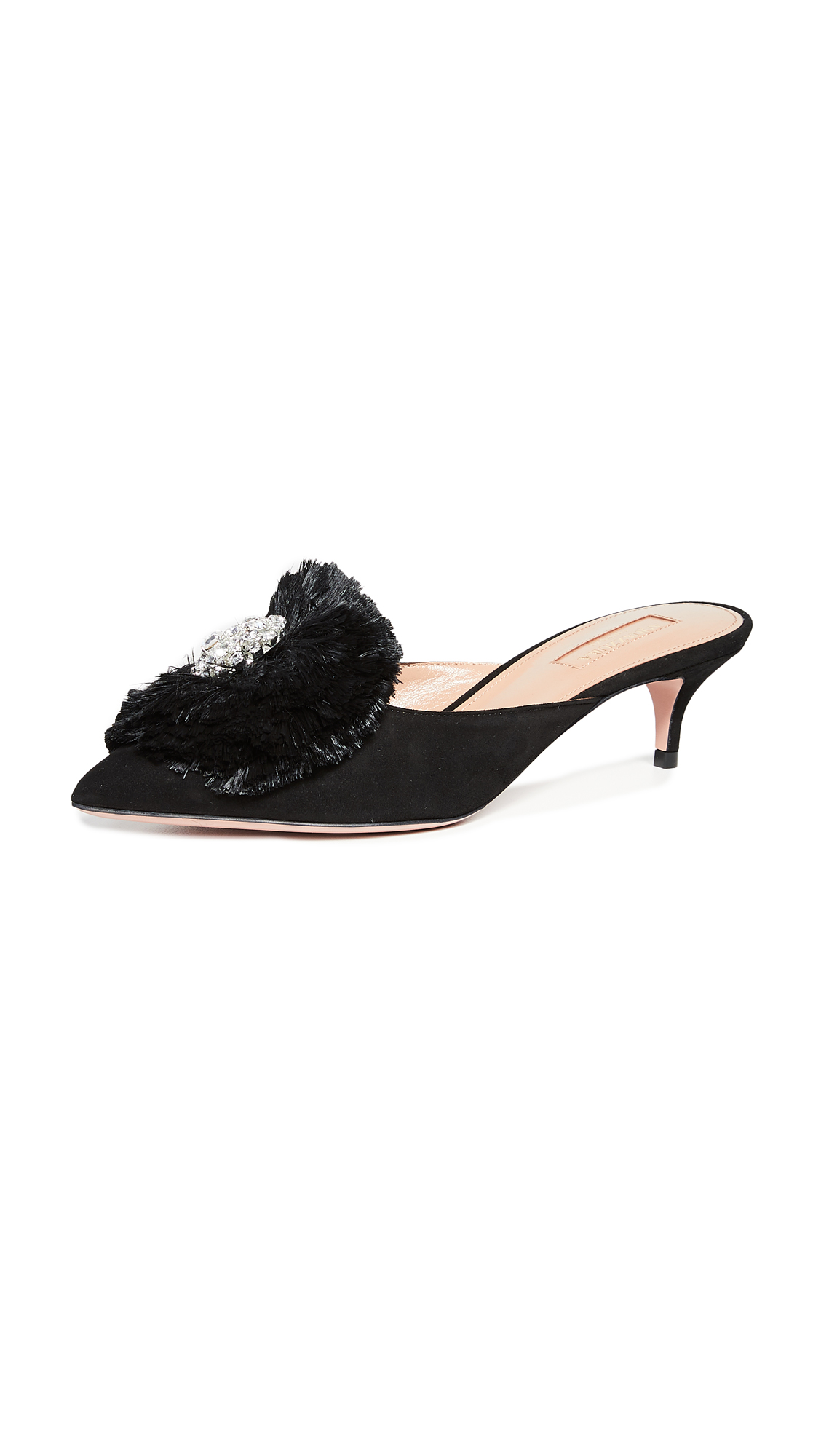 Aquazzura Crystal Lotus 45 Mules - Black