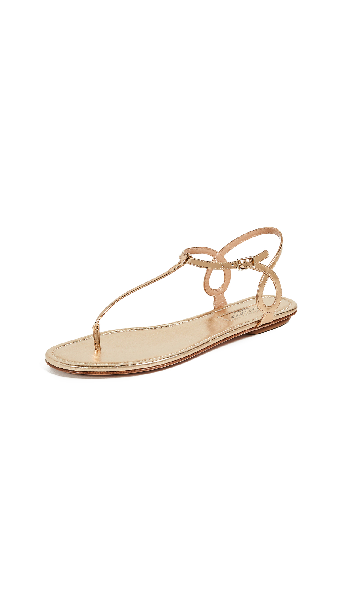 Aquazzura Almost Bare Flat Sandals - Soft Gold