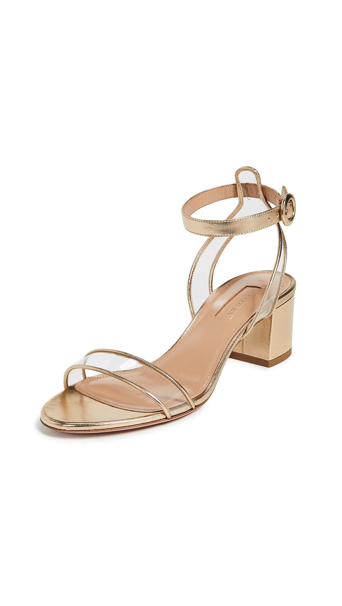 Aquazzura Minimalist 50 Sandals - Soft Gold