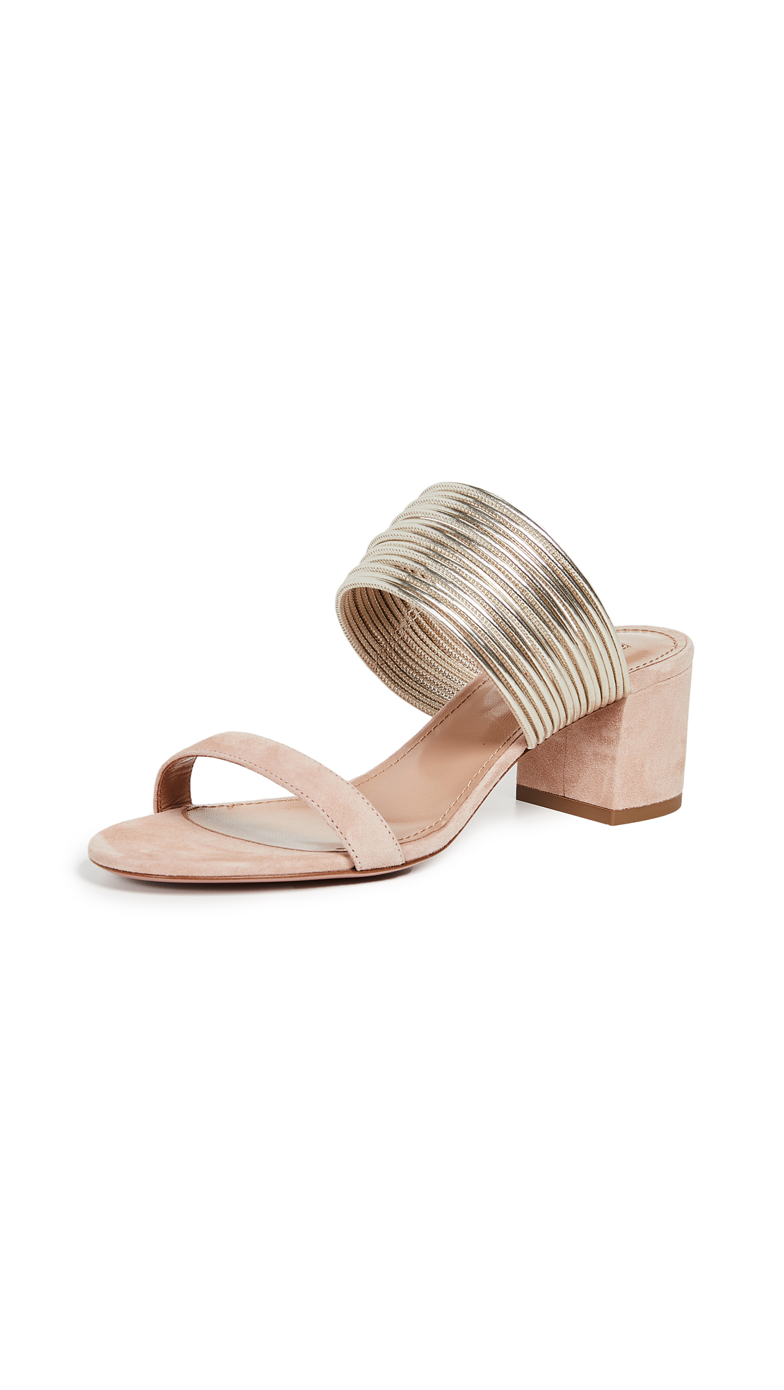 Aquazzura Rendez Vous Sandals - Powder Pink/Light Gold