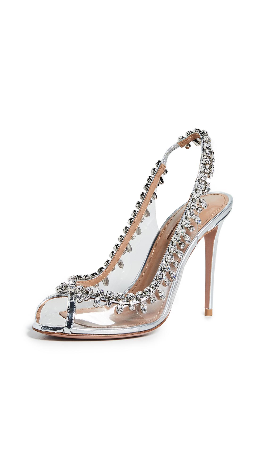 Buy Aquazzura online - photo of Aquazzura 105mm Temptation Crystal Sandals