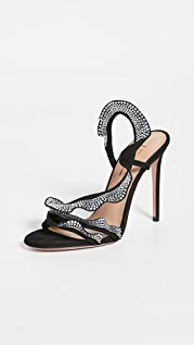 Aquazzura 105mm Ruffle Crystal Sandals