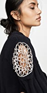Area Ribbed Knit Chenille Cropped Sweater with Crystal Doily Inserts