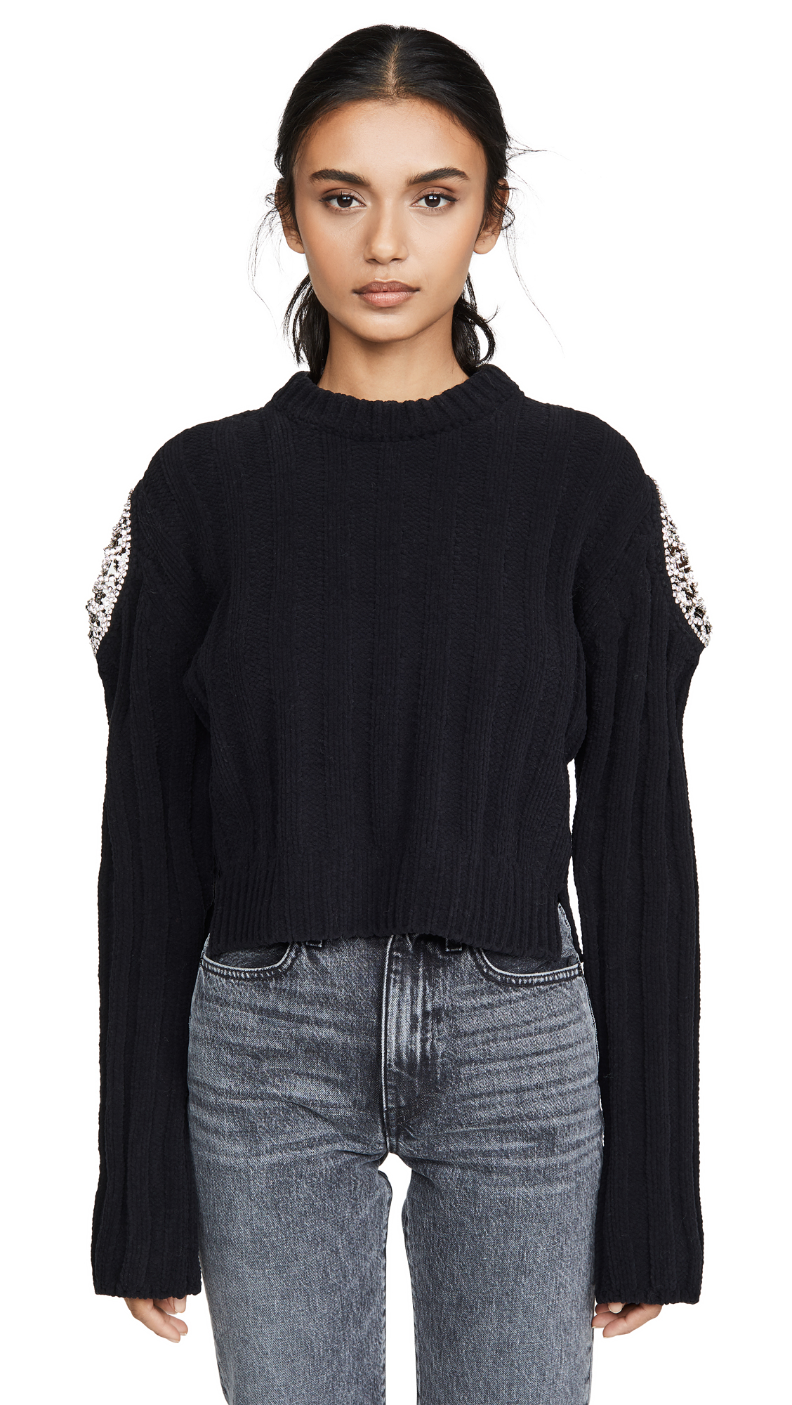 Buy Area online - photo of Area Ribbed Knit Chenille Cropped Sweater with Crystal Doily Inserts