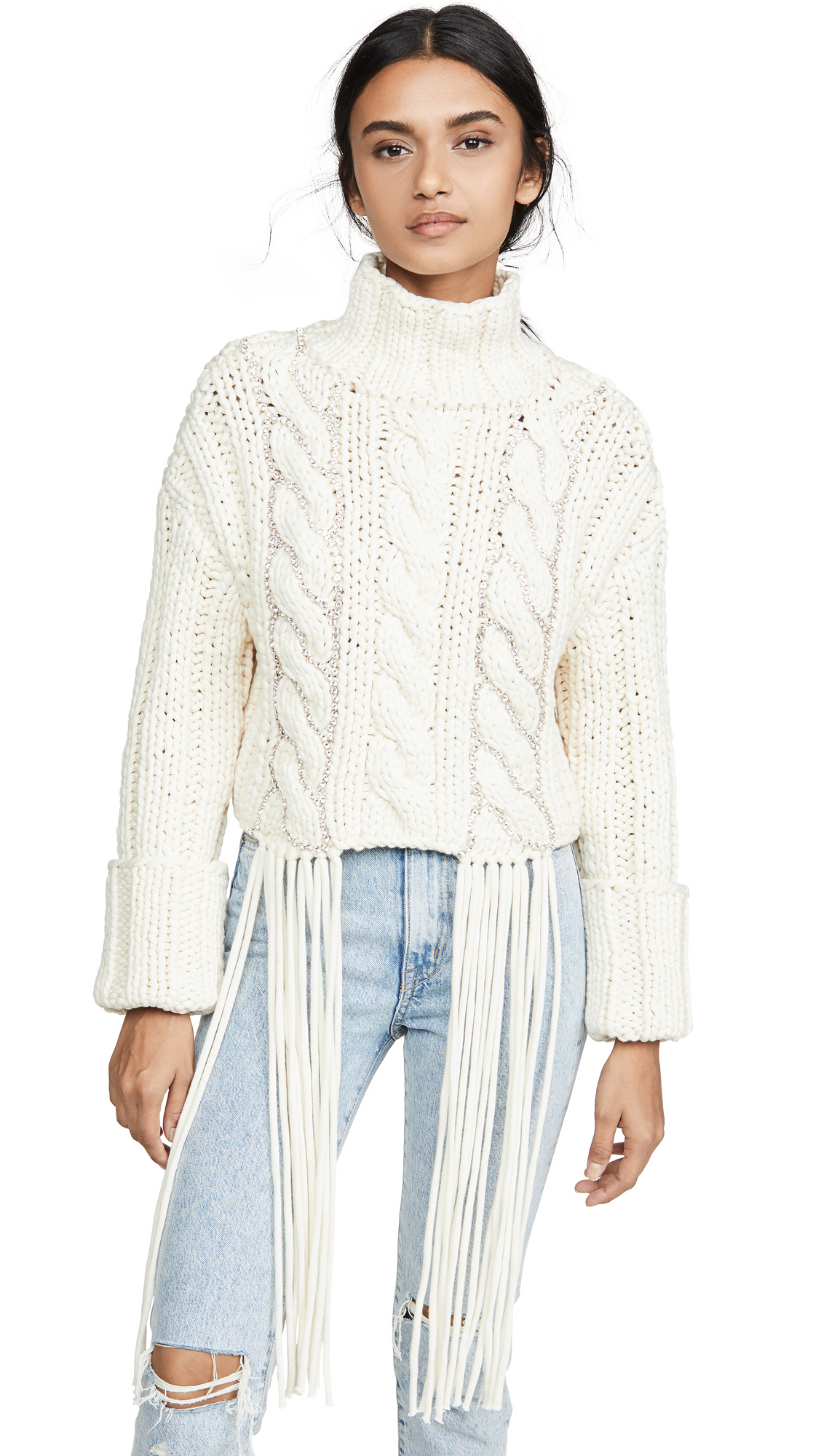 Buy Area online - photo of Area Cropped Cable Knit Sweater