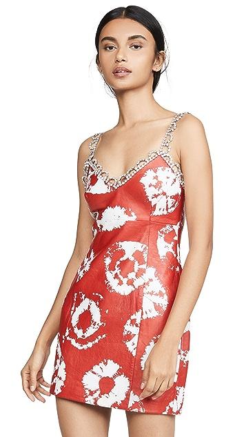 Area Tie Dye Leather Slip Dress