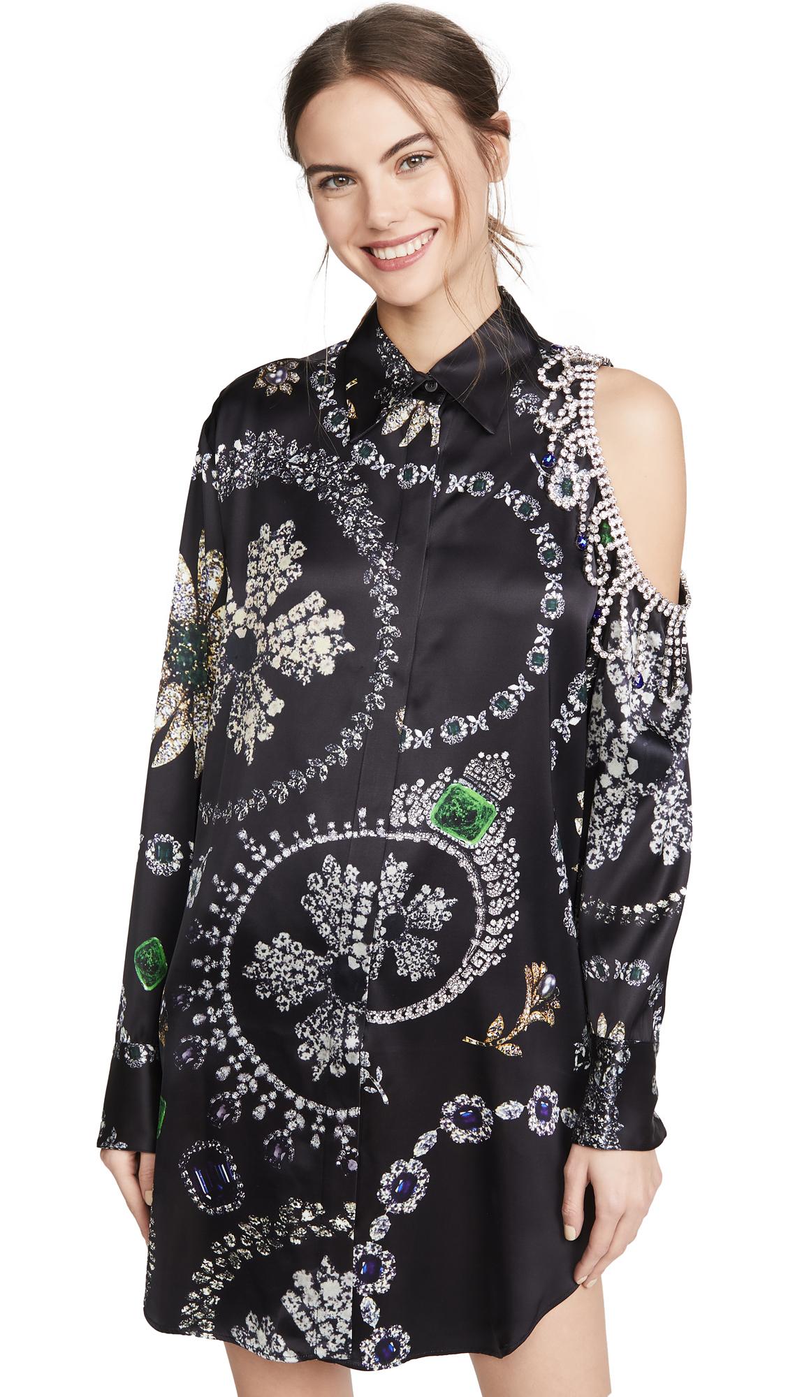 Area Jewelry Print Crystal Cutout Shirtdress - 50% Off Sale