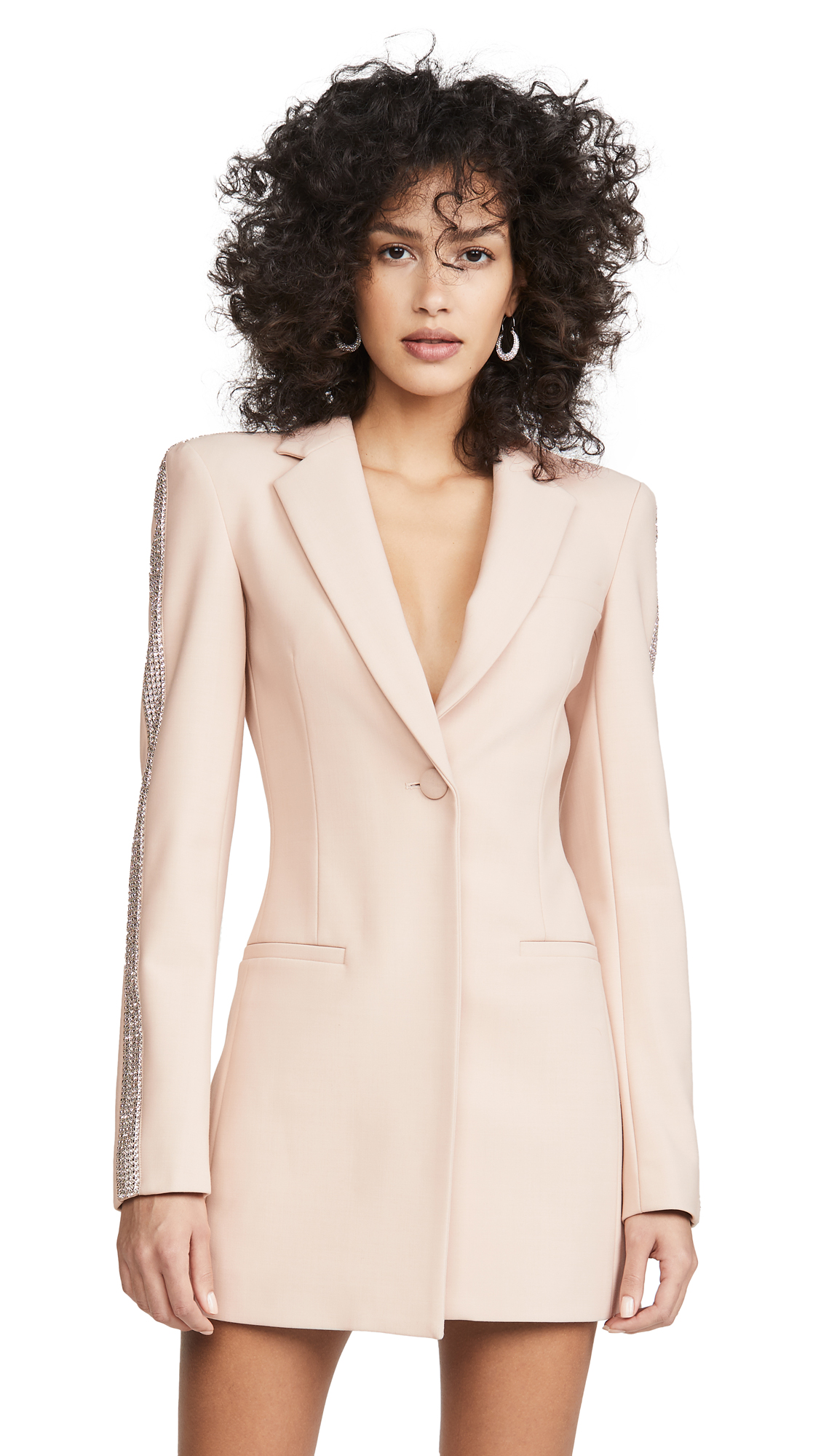Area Wool Bonded Suiting Crystal Stripe Blazer Dress – 40% Off Sale