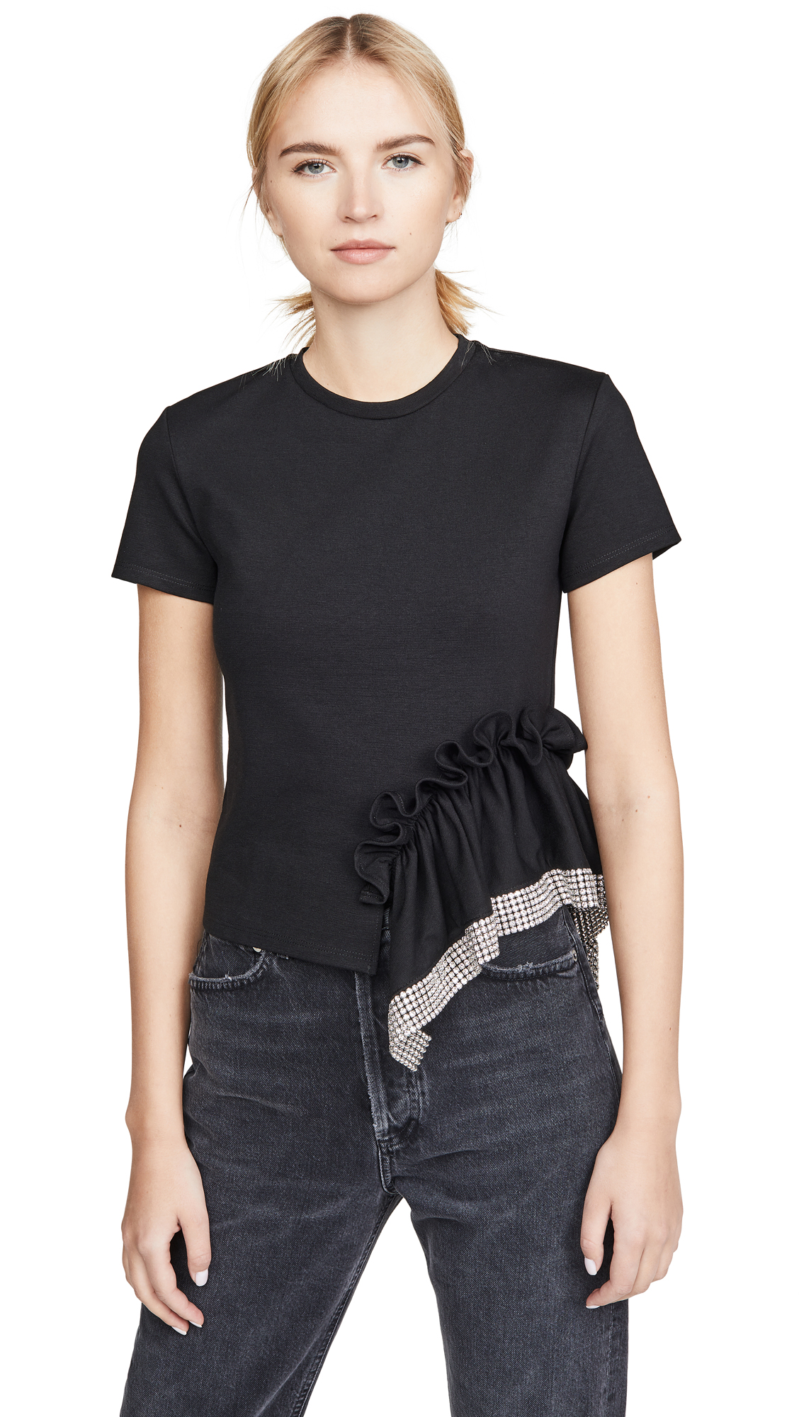 Buy Area online - photo of Area Ponte Jersey Crystal Peplum T-Shirt