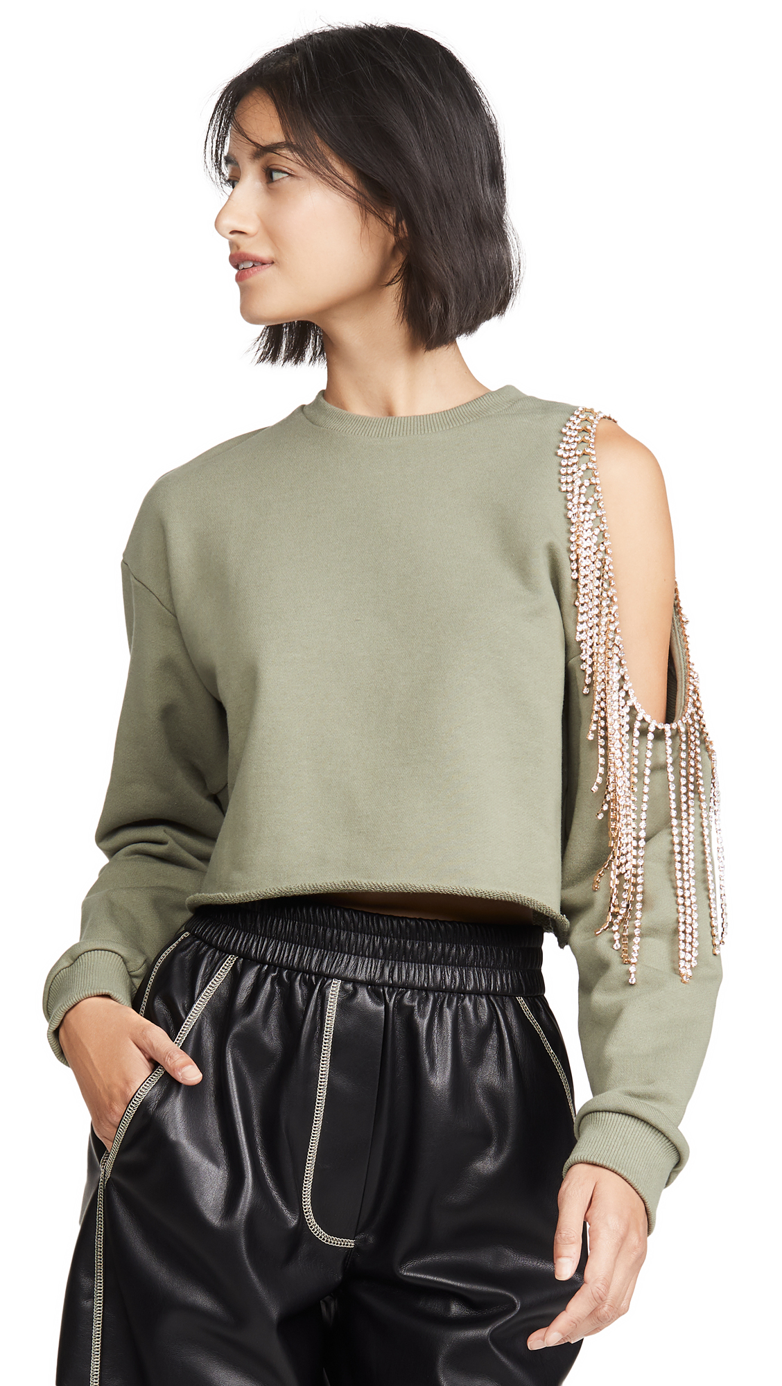 Area Pullover Sweatshirt with Cutout Shoulder – 30% Off Sale