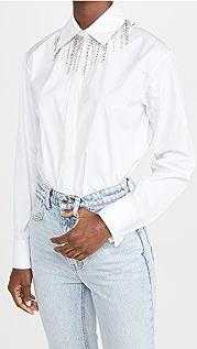 Area Crystal Fringe Collar Blouse