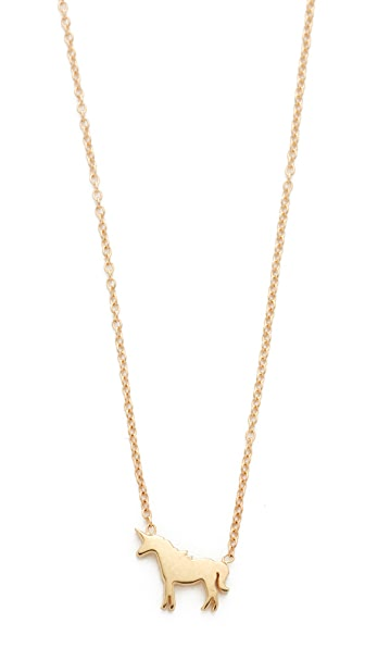Ariel Gordon Jewelry 14k Gold Menagerie Unicorn Necklace - Gold