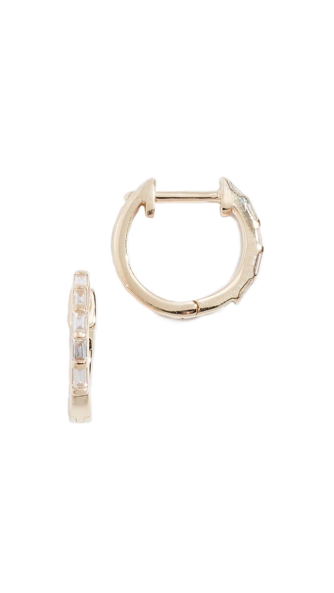 ARIEL GORDON JEWELRY 14K Baguette Diamond Huggie Earrings in Yellow Gold