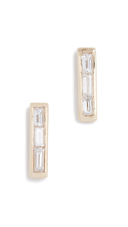 ARIEL GORDON JEWELRY 14K Baguette Diamond Stud Earrings in Yellow Gold