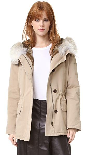 Army By Yves Salomon Short Classic Parka with Fur - Sahara/Natural