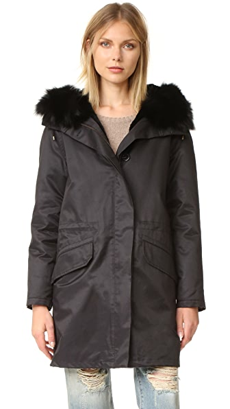 Army By Yves Salomon Classic Gabardine Parka with Fur