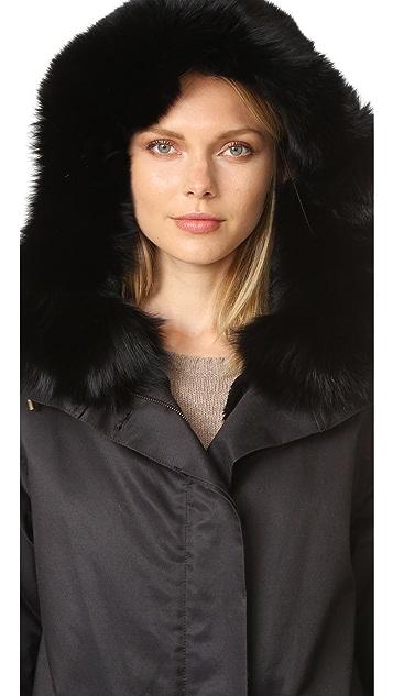 Army By Yves Salomon Classic Gabardine Parka with Fur