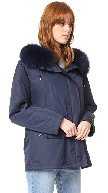 Army By Yves Salomon Classic Short Parka with Fur