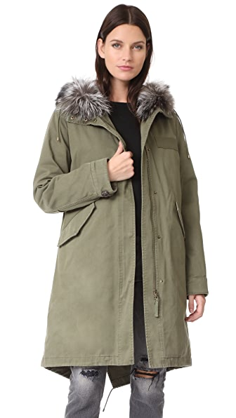 Army By Yves Salomon Jacket with Fox Hood Trim