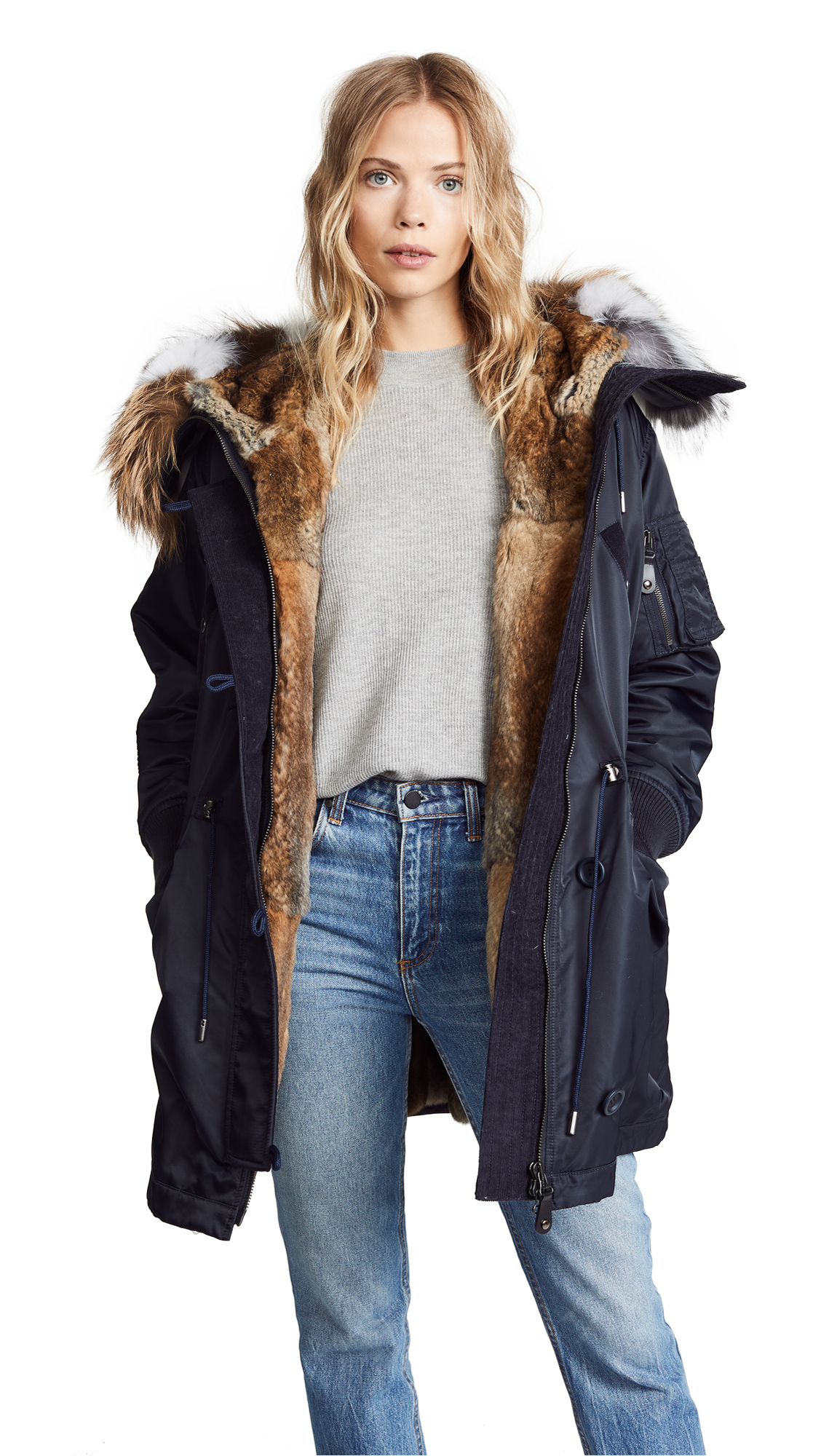 Army By Yves Salomon Puffer Hooded Coat with Fur Trim