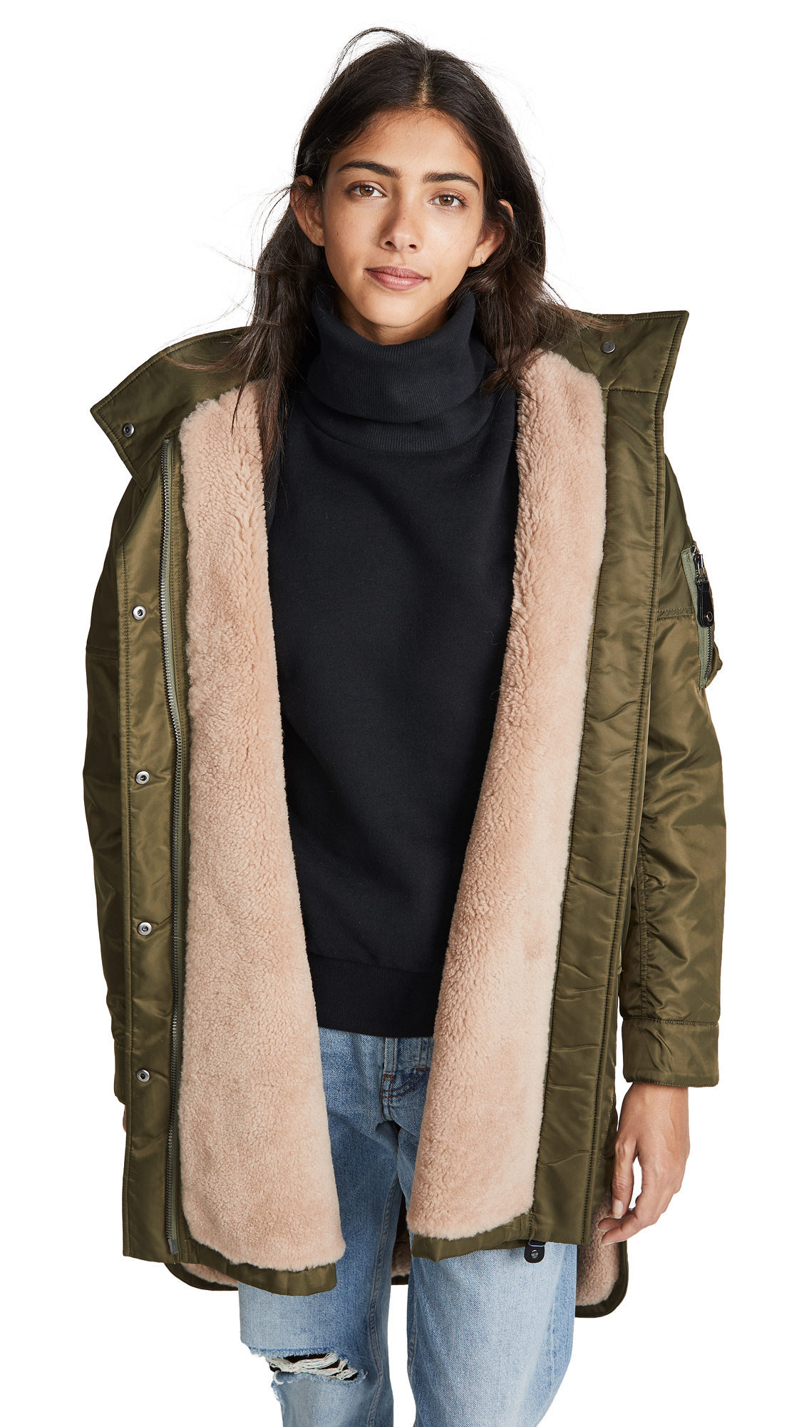 Army By Yves Salomon Curly Lamb Coat