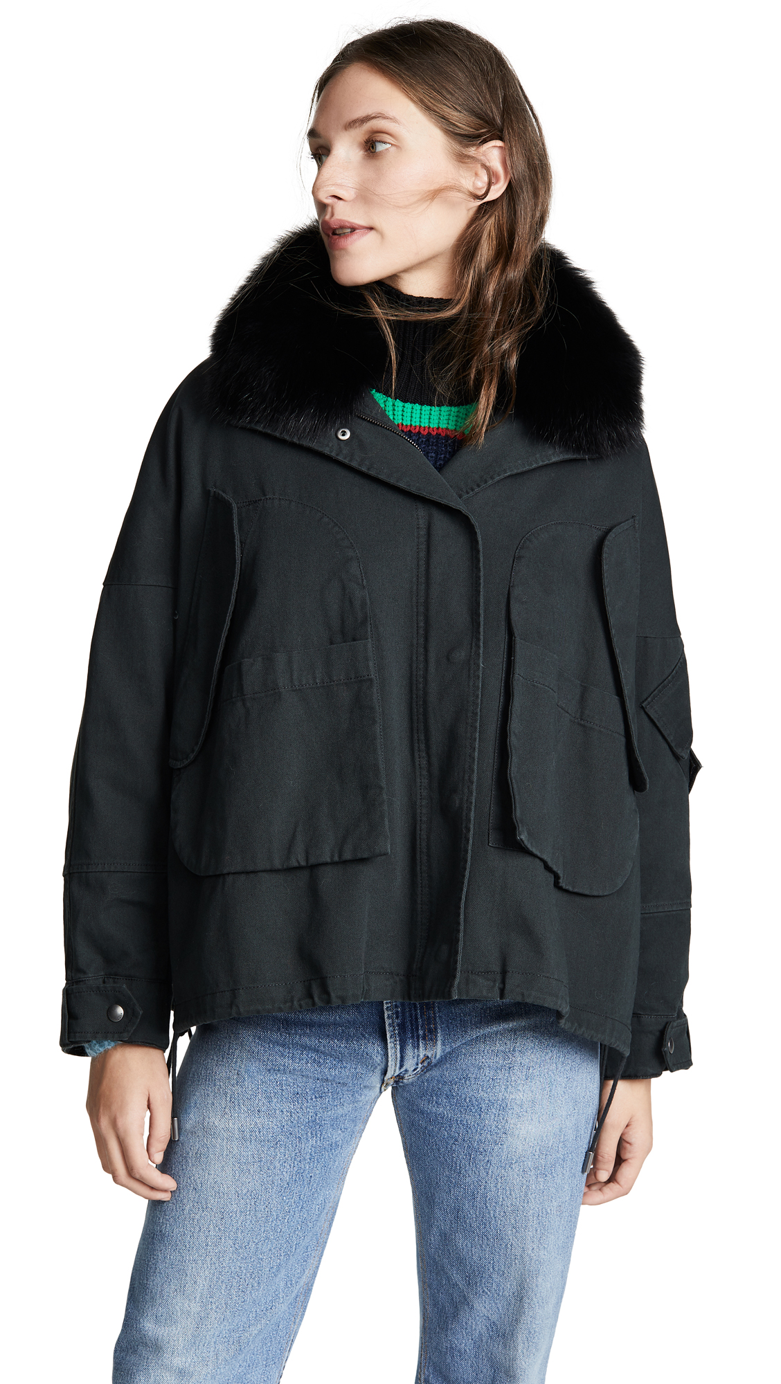 Army By Yves Salomon Cotton Cropped Parka