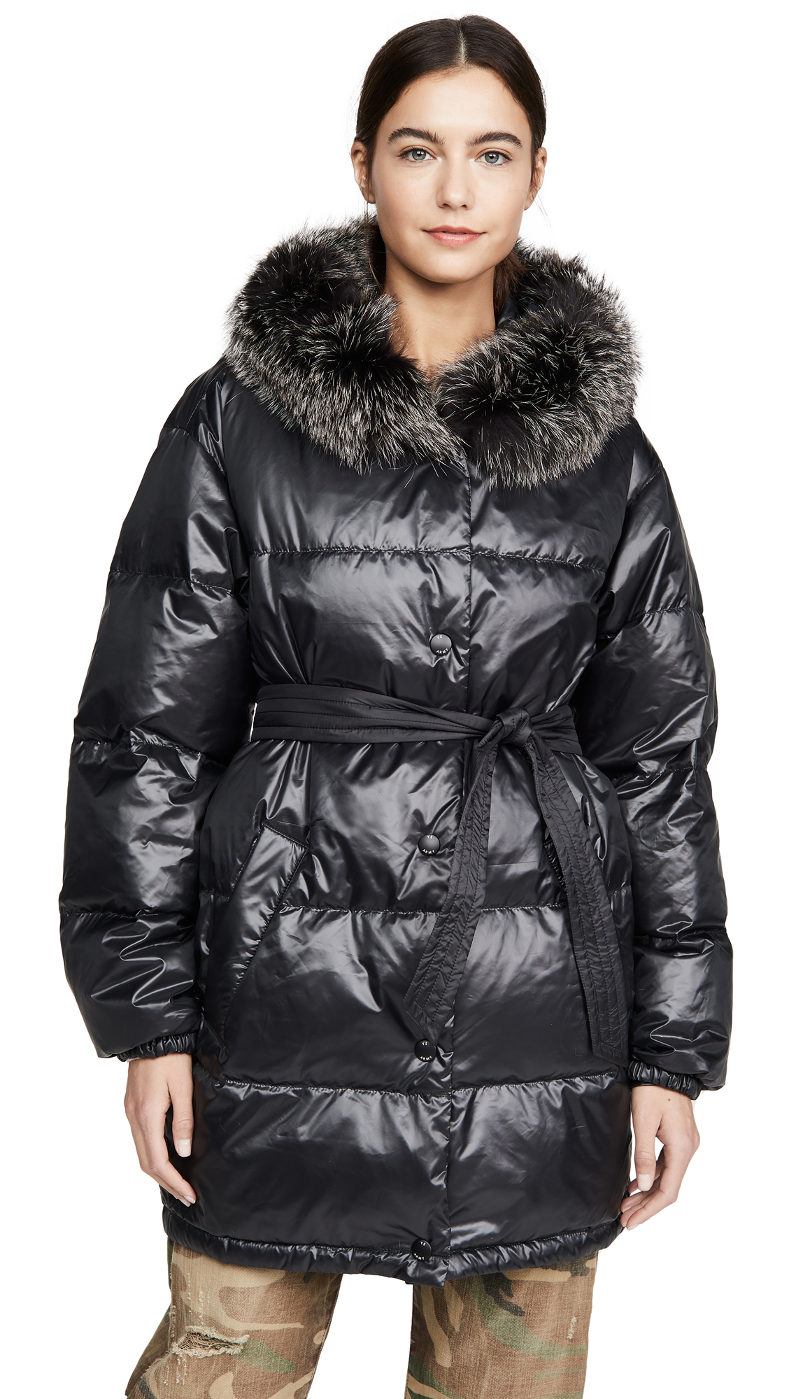 Buy Army By Yves Salomon online - photo of Army By Yves Salomon Nylon Jacket With Fur
