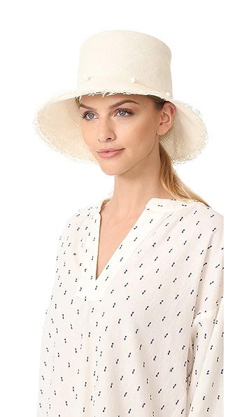 Artesano Playa Hat with Fringe - White
