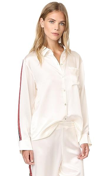 ASCENO Pyjama Top - Ochre Blood Stripe