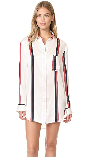 ASCENO Sleep Shirt - Ochre Blood Stripe