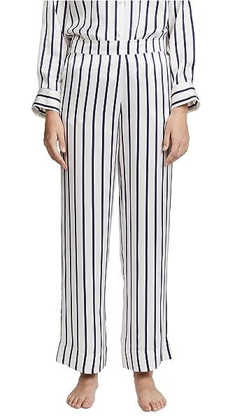 ASCENO Pajama Bottoms In Navy Stripe