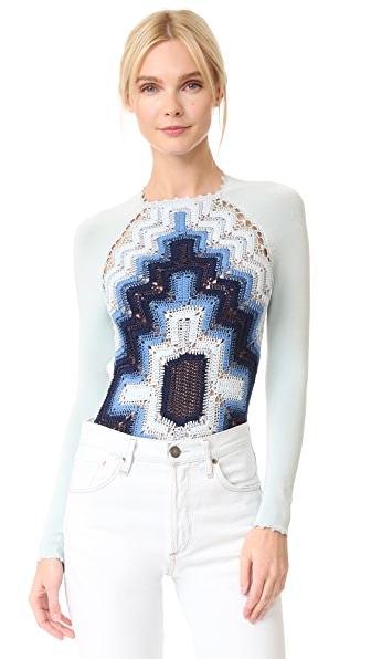 Adam Selman Crochet Bodysuit - Denim