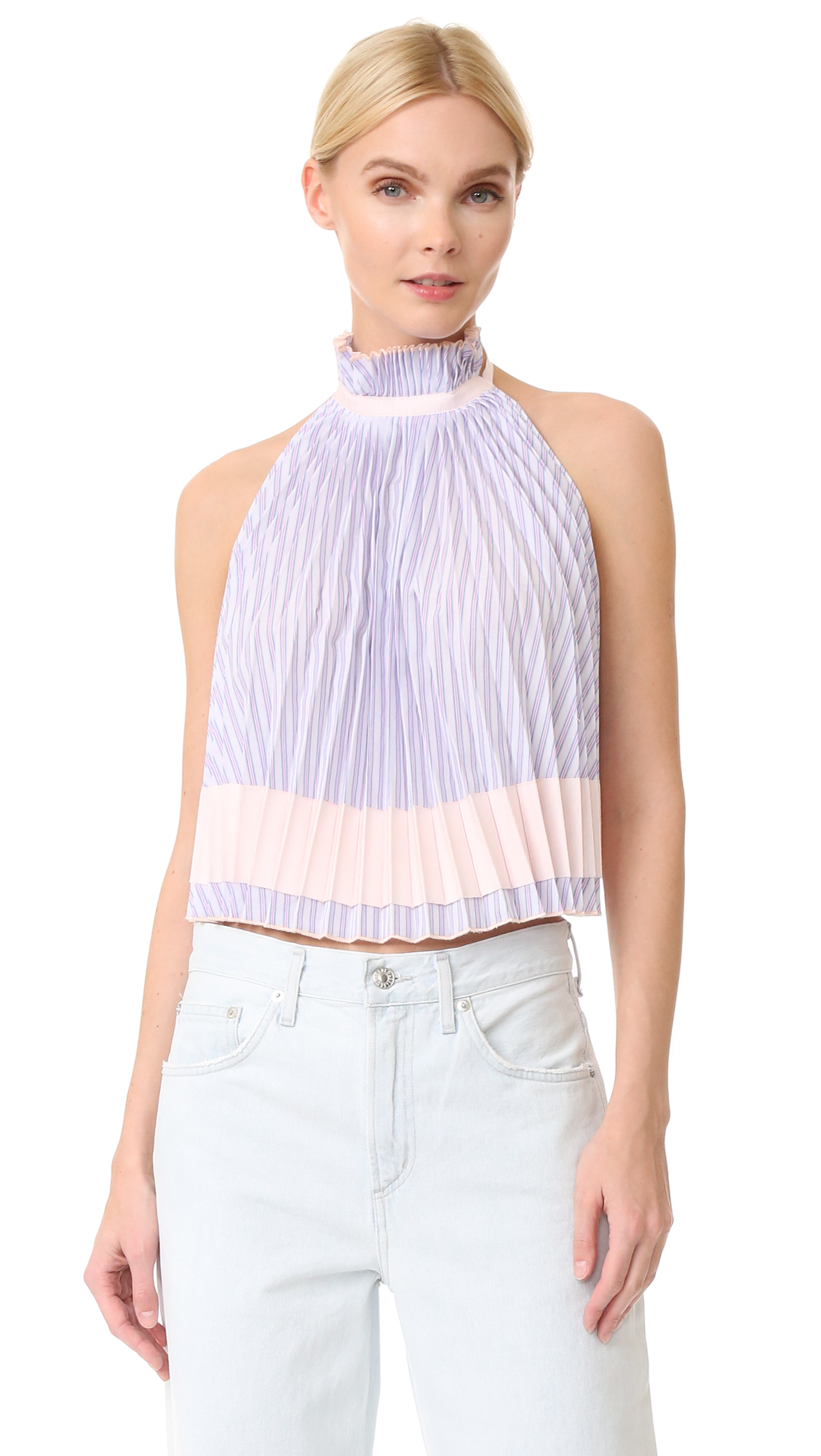 Adam Selman Backless Pleated Trapeze Top - Blush Stripe