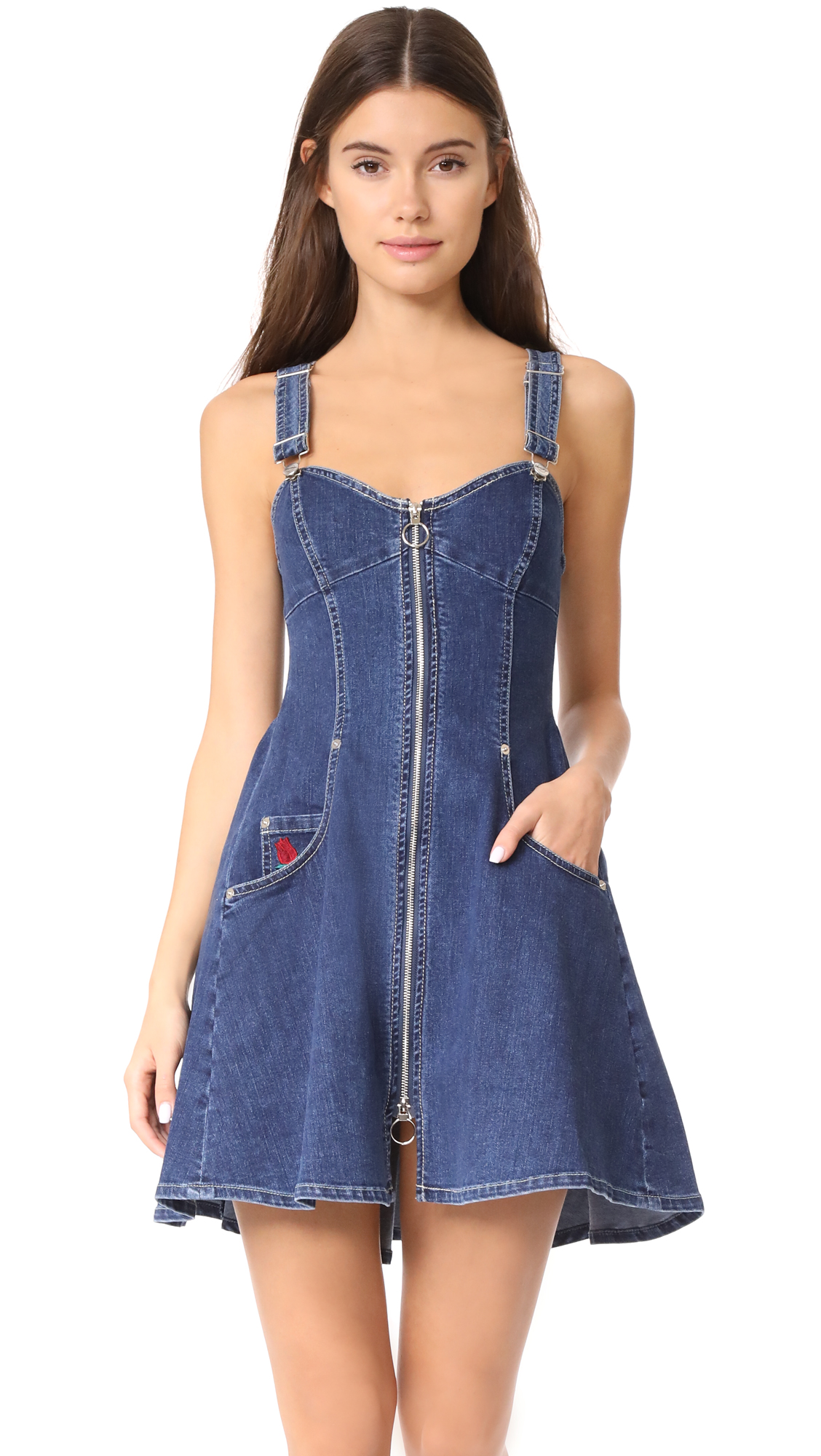 Adam Selman Overall Dress - Denim