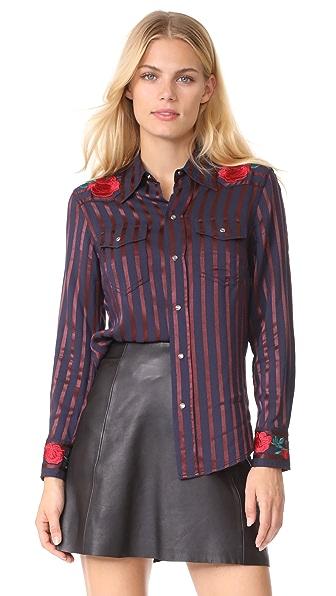 ADAM SELMAN Cowgirl Shirt, Satin Stripe