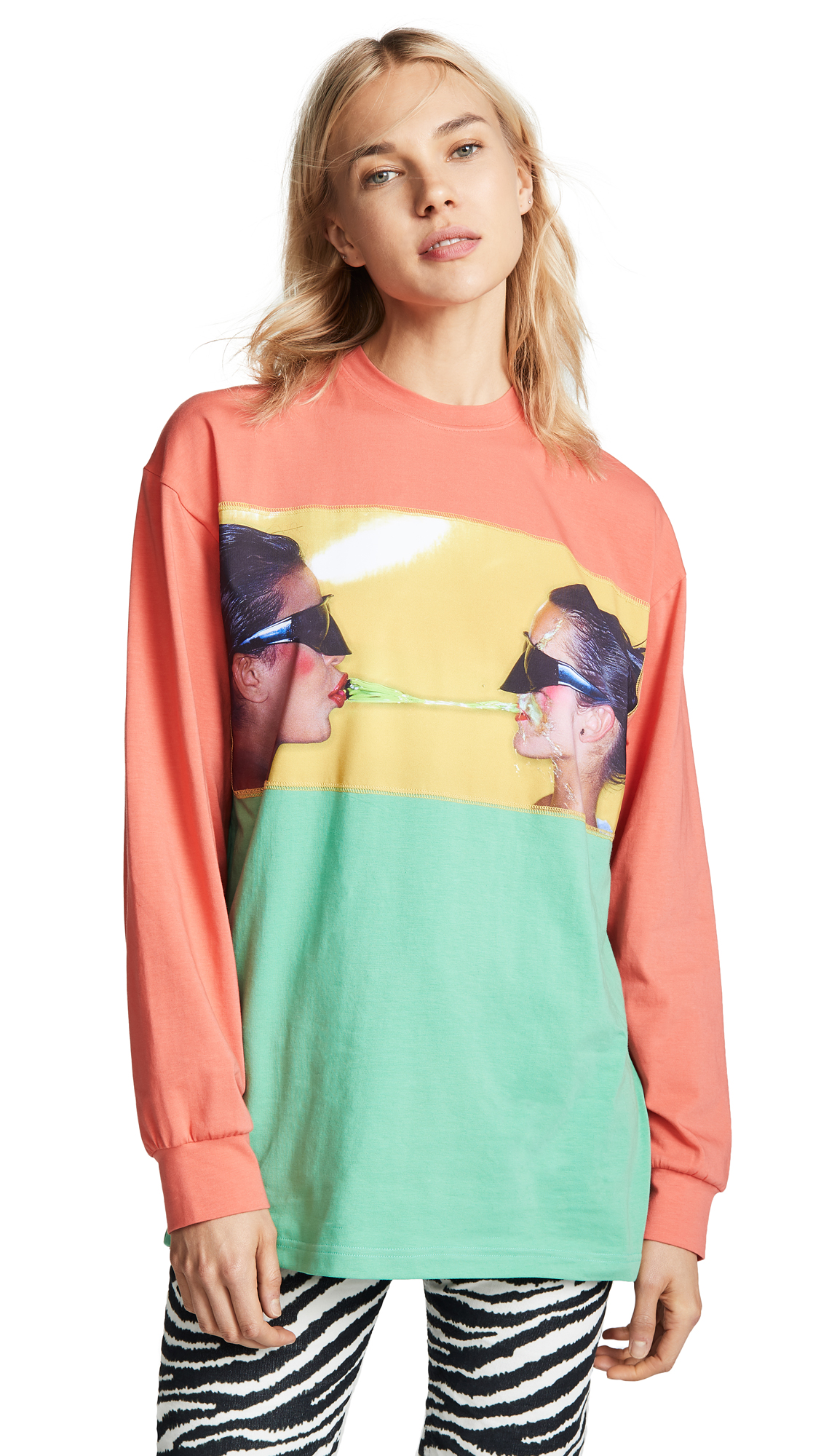 ADAM SELMAN Long Sleeve Tee in Green