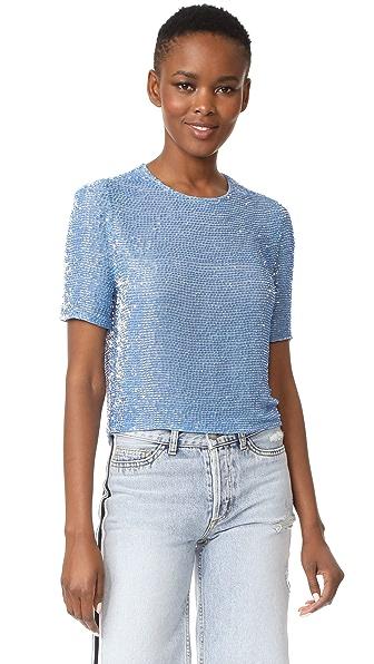 ASHISH Beaded Crop T-Shirt