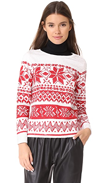 ASHISH Sequin Fairisle Top - White/Red