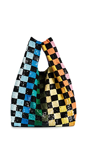 ASHISH Sequin Grocery Bag In Rainbow Checkerboard