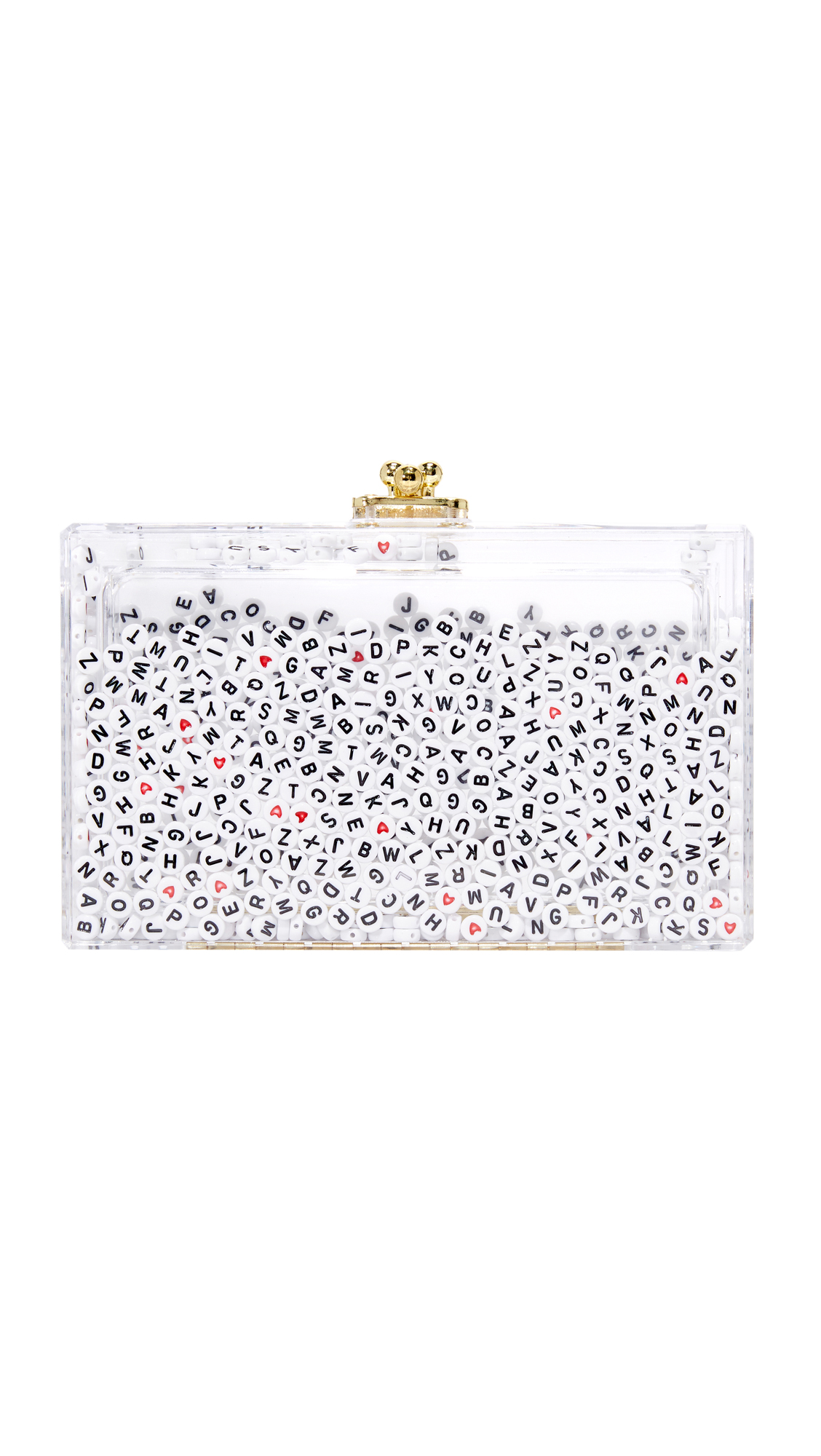 This handmade, transparent ashlyn'd clutch is detailed with alphabet beads which slide and shake as the bag moves. Hinged closure and unlined interior. Dust bag included. Fabric: Acrylic. Made in the USA. Measurements Height: 4.25in / 11cm