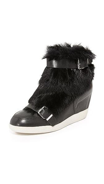 Ash Bobbi Fur Wedge Sneakers - Black/Black at Shopbop
