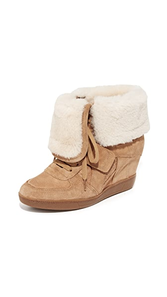 Ash Brendy Shearling Wedge Sneakers - Camel/Camel at Shopbop