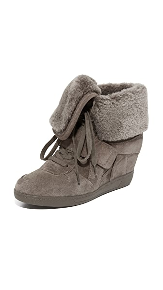 Ash Brendy Shearling Wedge Sneakers - Topo/Topo at Shopbop