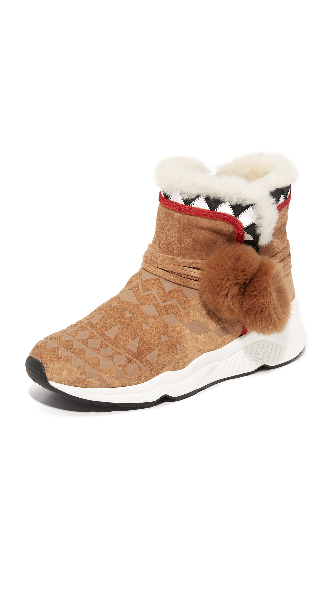 Ash Mongolia Sherpa Booties - Crepe/Black/White/Red