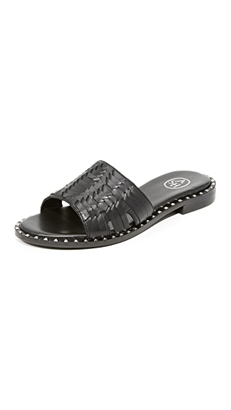 Ash Playa Woven Slides - Black