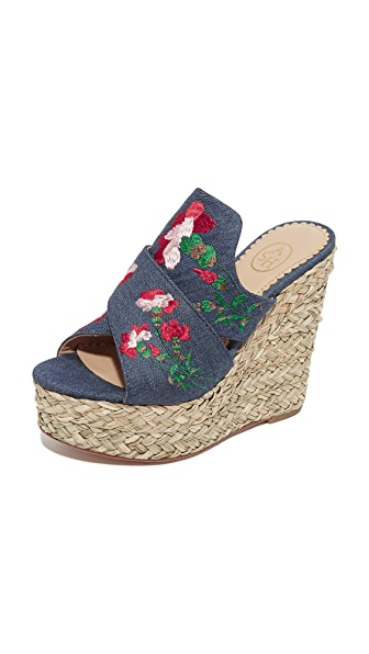 Ash Bahia Wedge Slide Sandals - Washed Denim