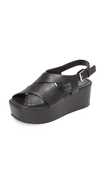 Ash Debby Flatform Sandals - Black