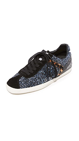 Ash Glitter Leather Sneakers - Black/Navy