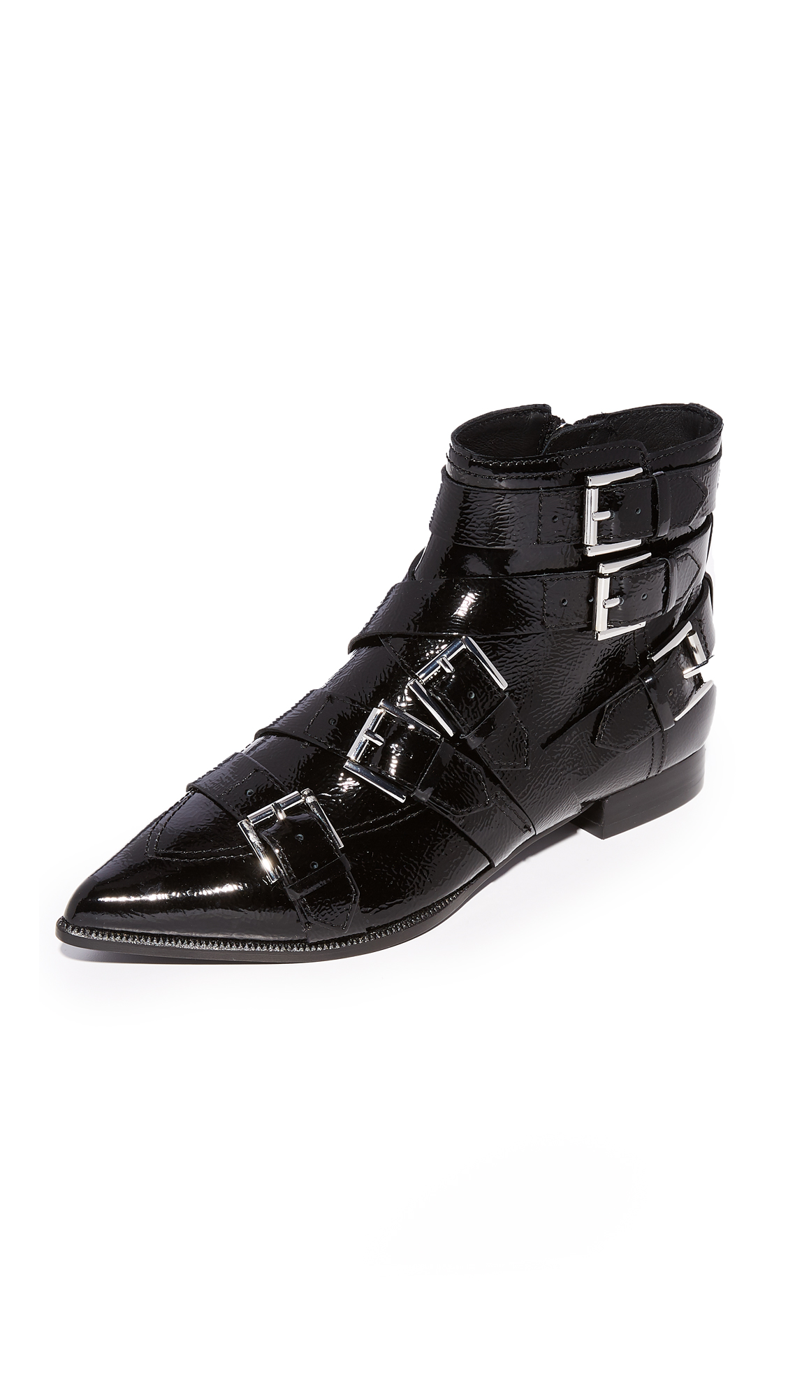 Ash Blast Buckle Booties - Black